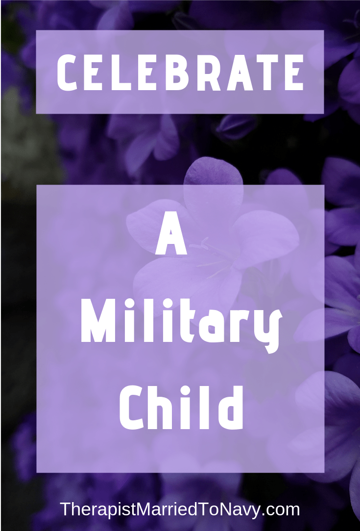 Purple flowers and that says celebrate a military child
